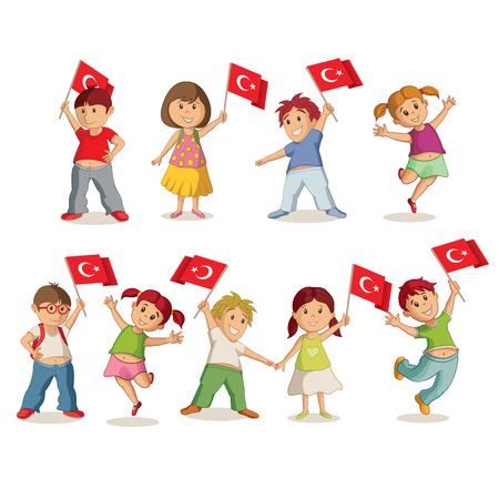 Illustrazione vettoriale di bambini con bandiera turca. 23 Nisan Çocuk Bayrami, 23 aprile turco Sovranità Nazionale e Giornata dei bambini. Archivio Fotografico - 74487172