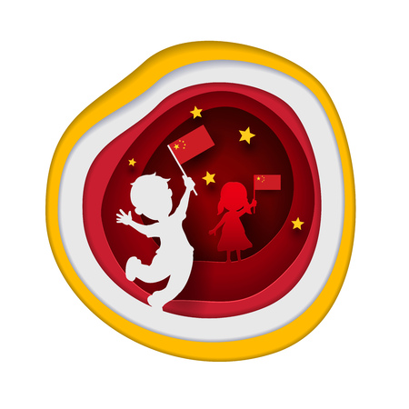 asian children: Asian little Chinese children holding China flag. Paper cutting art style vector illustration.