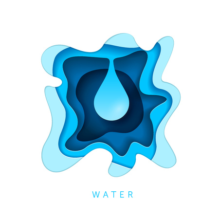 Water drop. Nature concept. Paper art style vector illustration.