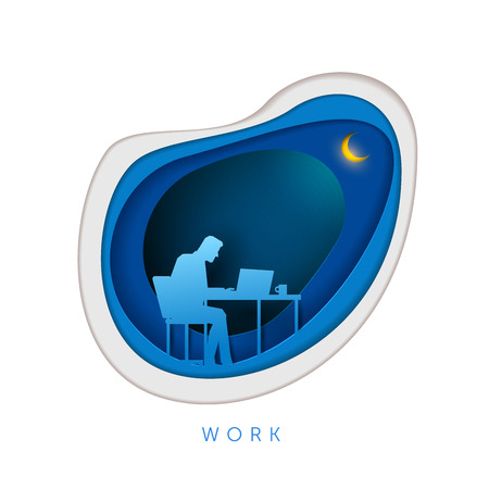 lonely person: Business concept illustration. Businessman sitting and working with laptop. Paper art style vector illustration. Elements are layered separately in vector file.