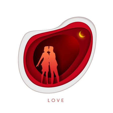 innamorati che si baciano: Relazione oncept illustrazione. Uomo e donna che abbracciano e baciano. Illustrazione vettoriale di arte in carta arte. Gli elementi vengono layerati separatamente nel file vettoriale.