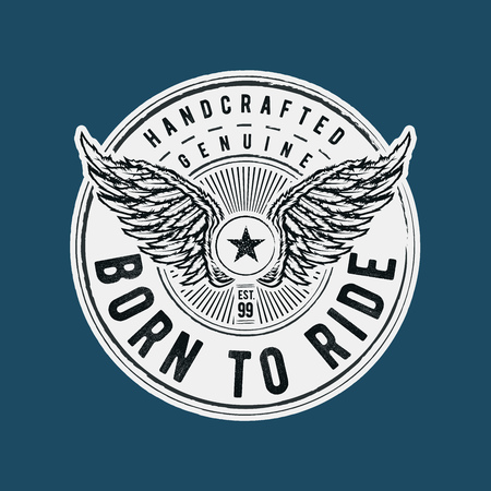 Print design: Born to Ride typographic design for t-shirt print. Global flat colors. Layered vector illustration. Illustration