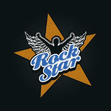 Rock Star typographic design for t-shirt print or all graphic designs. Global flat colors. Layered vector illustration.