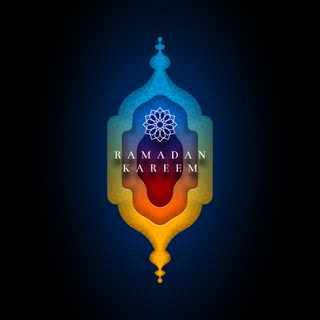 Islamic greeting card design for Ramadan. Paper art style vector illustration. Elements are layered separately in vector file. Vectores