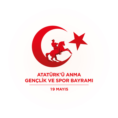 19 may Commemoration of Ataturk, Youth and Sports Day. Vector illustration. Turkish national holiday.