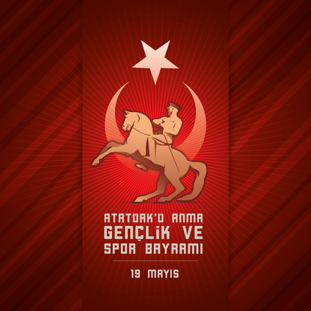 19 may Commemoration of Ataturk, Youth and Sports Day. Vector illustration. Turkish national holiday. Stok Fotoğraf - 76867763