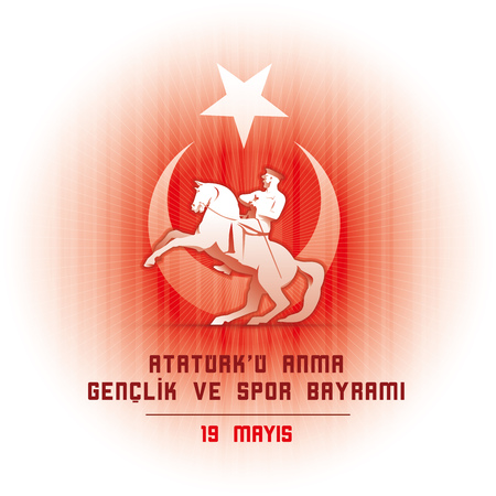 national holiday: 19 may Commemoration of Ataturk, Youth and Sports Day. Vector illustration. Turkish national holiday.