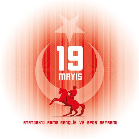 19 maggio commemorazione di Ataturk, Giornata della gioventù e dello sport. Illustrazione vettoriale. Vacanza nazionale turca.