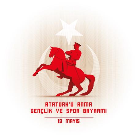 19 mayis Ataturk'u Anma, Genclik ve Spor Bayrami greeting card design. 19 may Commemoration of Ataturk, Youth and Sports Day. Vector illustration. Turkish national holiday. Commemorate Mustafa Kemal's landing at Samsun on May 19, 1919, which is regarded a