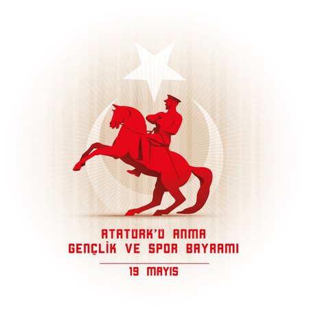 19 mayis Ataturk'u Anma, Genclik ve Spor Bayrami greeting card design. 19 may Commemoration of Ataturk, Youth and Sports Day. Vector illustration. Turkish national holiday. Commemorate Mustafa Kemal's landing at Samsun on May 19, 1919, which is regarded a