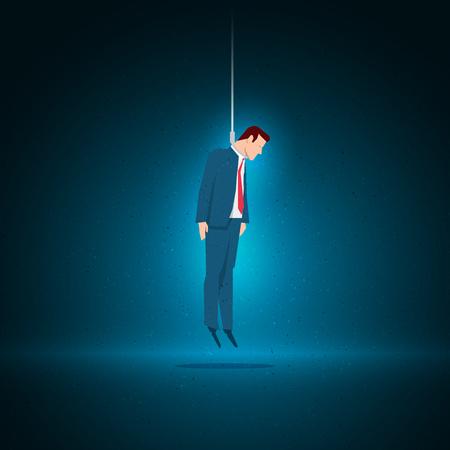 ビジネス概念図。実業家は、彼自身を掛けることによって自殺を託した。要素は、ベクター ファイルに個別に配置されます。