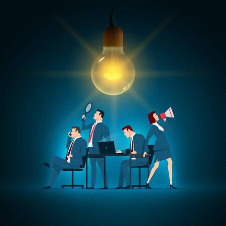 multiple: Business concept illustration. Business team working. Elements are layered separately in vector file. Illustration