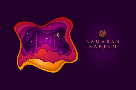 Islamic greeting card design. Ideal for Ramadan. Paper art style vector illustration. Elements are layered separately in vector file. Illustration