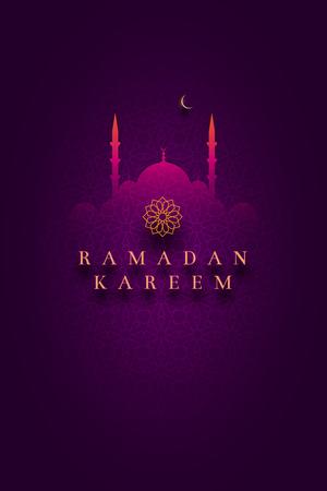 Islamitische wenskaart ontwerp. Ideaal voor Ramadan. Papieren kunst stijl vectorillustratie. Elementen worden apart in vectorbestanden gelaagd.