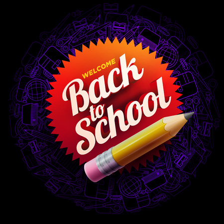 A Vector design template for Back to school. school supplies icons, sharp wooden pencil and 3d Welcome Back to School text.