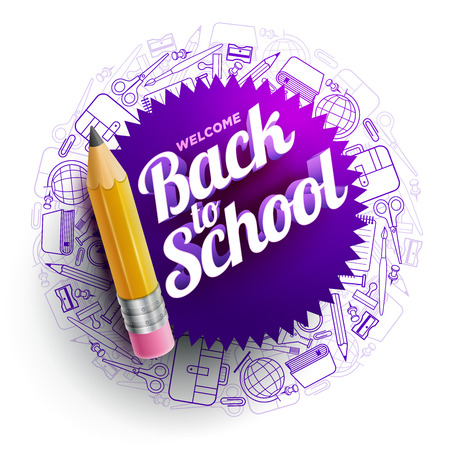 Una plantilla de diseño vectorial para el regreso a la escuela. iconos de útiles escolares, lápiz de madera afilado y texto de bienvenida 3d a la escuela.