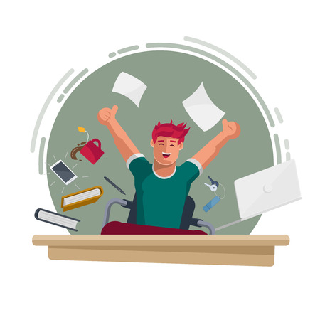 Successful happy man working in the office. He is jumping and all of office equipments are too. Concept vector illustration. Elements are layered separately in vector file.