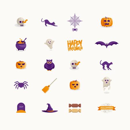 Vector Halloween icon design collection. Modern flat design.