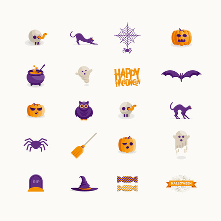 owl illustration: Vector Halloween icon design collection. Modern flat design.