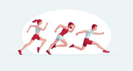 Ilustración de vector de gente corriente. Dos hombres y una mujer están trotando. Colores globales editables fáciles.