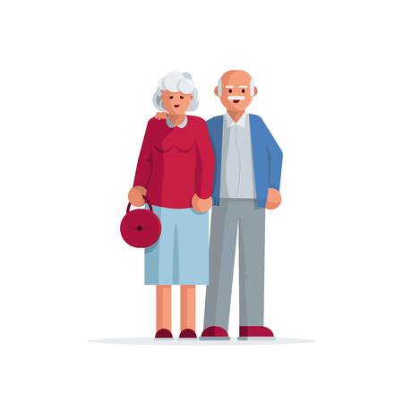 guy standing: Happy elderly couple standing together. Vector character illustration.