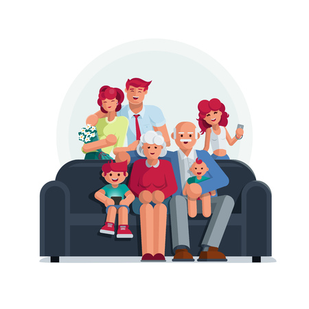 Happy big family portrait. Grandmother, grandfather, mother, father son and daughter together. Elements are layered separately.