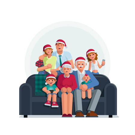 The whole family is together at Christmas. Grandmother, grandfather, mother, father son and daughter together. Elements are layered separately. Isolated on white background.