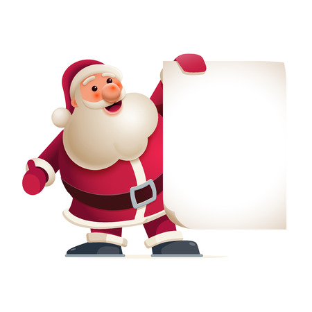 Santa Claus is showing banner. Vector illustration. Elements are layered separately in vector file. Easy editable vector graphic.