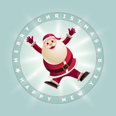 Santa Claus jumping. Vector illustration and Christmas card. Elements are layered separately in vector file. Easy editable vector graphic.