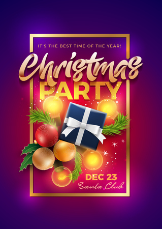 Christmas Pary Poster Design Template. Christmas decoration objects and Christmas gift box with magical lights. Elements are layered separately in vector file. Illustration
