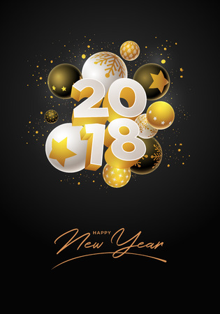 Abstract 2018 new year greeting card design with 3d white, black and gold Christmas balls. Elements are layered separately in vector file.