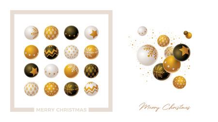 Weihnachtskugel gesetzt. Gold, Weiß und Schwarz. Mach dein eigenes Design. Standard-Bild - 89844916