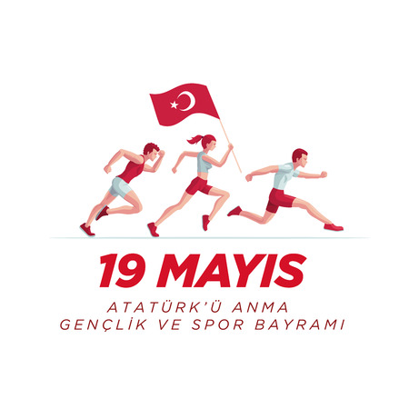 19 mayis Ataturk'u Anma, Genclik ve Spor Bayrami greeting card design. 19 May Commemoration of Ataturk, Youth and Sports Day. Vector illustration. Turkish national holiday. Commemorate Mustafa Kemal's landing at Samsun on May 19, 1919, which is regarded as the beginning of the Turkish War of Independence in the official historiography. Stok Fotoğraf - 99484442