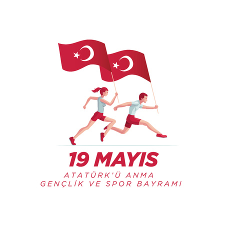 19 mayis Ataturk'u Anma, Genclik ve Spor Bayrami greeting card design. 19 May Commemoration of Ataturk, Youth and Sports Day. Vector illustration. Turkish national holiday. Commemorate Mustafa Kemal's landing at Samsun on May 19, 1919, which is regarded as the beginning of the Turkish War of Independence in the official historiography.