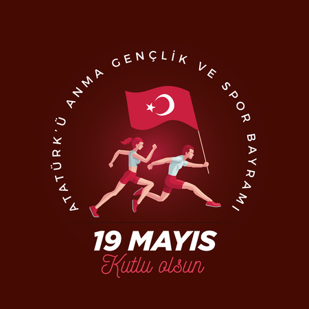 19 mayis Ataturku Anma, Genclik ve Spor Bayrami greeting card design. 19 May Commemoration of Ataturk, Youth and Sports Day. Vector illustration. Turkish national holiday. Commemorate Mustafa Kemals landing at Samsun on May 19, 1919, which is regarded as the beginning of the Turkish War of Independence in the official historiography.