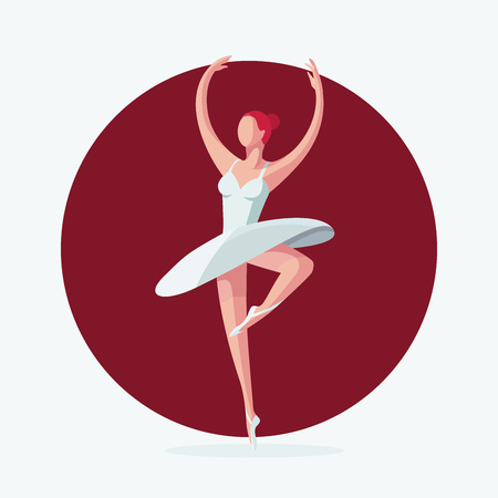 Vector illustration of a ballerina. Young beautiful ballerina dancing. Flat vector illustration. Illustration