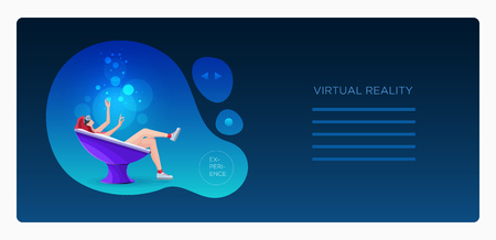Jolie belle fille portant des lunettes de réalité virtuelle (VR) allongée dans une chaise semi-ronde moderne et utilisant les mains touchant l'écran de simulation. Modèle de conception.