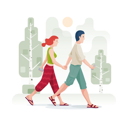 Young couple in love holding hands and walking in the park or forest. Vector illustration. Elements are layered separately in vector file. CMYK colors.