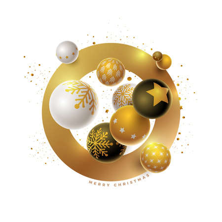 Abstract Christmas and new year greeting card design with 3d white, black and gold Christmas balls . Elements are layered separately in vector file.