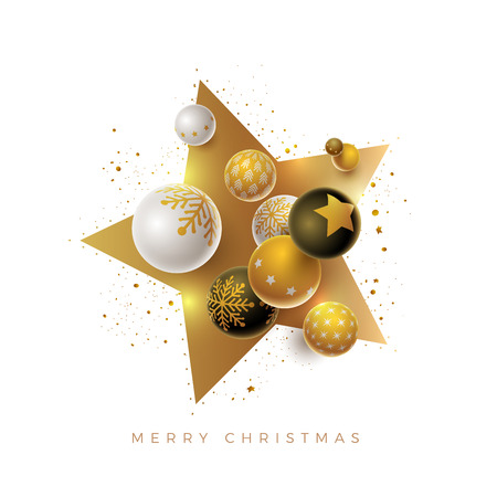 Abstract Christmas and new year greeting card design with 3d white, black and gold Christmas balls and star shape . Elements are layered separately in vector file.