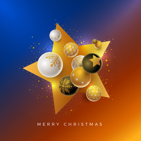 Vector Christmas and new year greeting card design with 3d white, black and gold Christmas balls . Elements are layered separately in vector file. Ilustrace