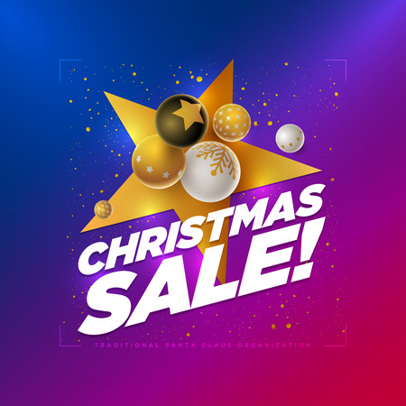 Vector Christmas Sale poster design template with 3d white, black and gold Christmas balls. Blue to red neon color gradient background. Elements are layered separately in vector file.  Ilustrace