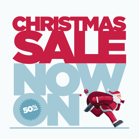 Vector Christmas design with Santa Claus illustration. Christmas Sale Concept Design. Best for poster, advert or social media post.