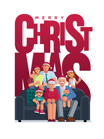 The whole family is together at Christmas. Grandmother, grandfather, mother, father son and daughter together. Poster  design. Elements are layered separately. Isolated on white background.