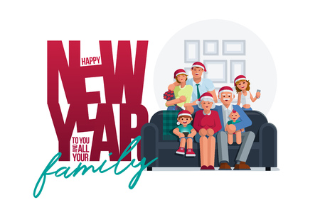 The whole family together in the new year. Grandmother, grandfather, mother, father son and daughter together. Poster design. Elements are layered separately. Isolated on white background.