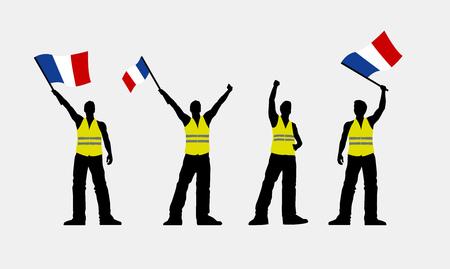 Vector yellow vest protestors illustration. Men silhouettes. Векторная Иллюстрация