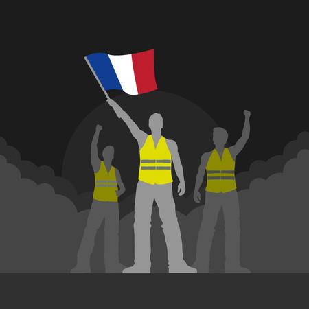Vector yellow vest protestors illustration. Men silhouettes. Illustration