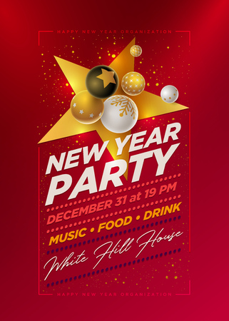 Vector New Year Party poster design template with 3d white, black and gold Christmas balls . Elements are layered separately in vector file. Illustration