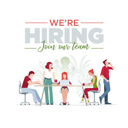 We are hiring, Join our team. Hiring and recruitment concept illustration and design. Casual business team working in office. Vector illustration. Ilustração
