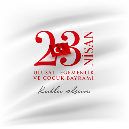 Turkish National Festival. 23 Nisan Cocuk Bayrami, April 23 Turkish National Sovereignty and Children's Day in Turkey. Typographic design for social media or print design. Stok Fotoğraf - 121246649